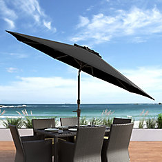 10 ft. UV and Wind Resistant Tilting Black Patio Umbrella