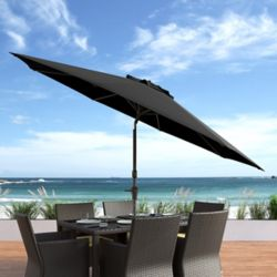 Corliving 10 ft. UV and Wind Resistant Tilting Black Patio Umbrella