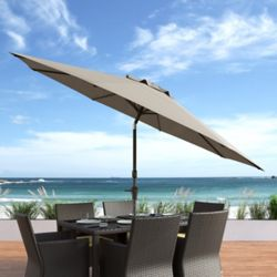 Corliving 10 ft. UV and Wind Resistant Tilting Sandy Brown Patio Umbrella