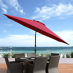 Corliving 10 ft. UV and Wind Resistant Tilting Wine Red Patio Umbrella