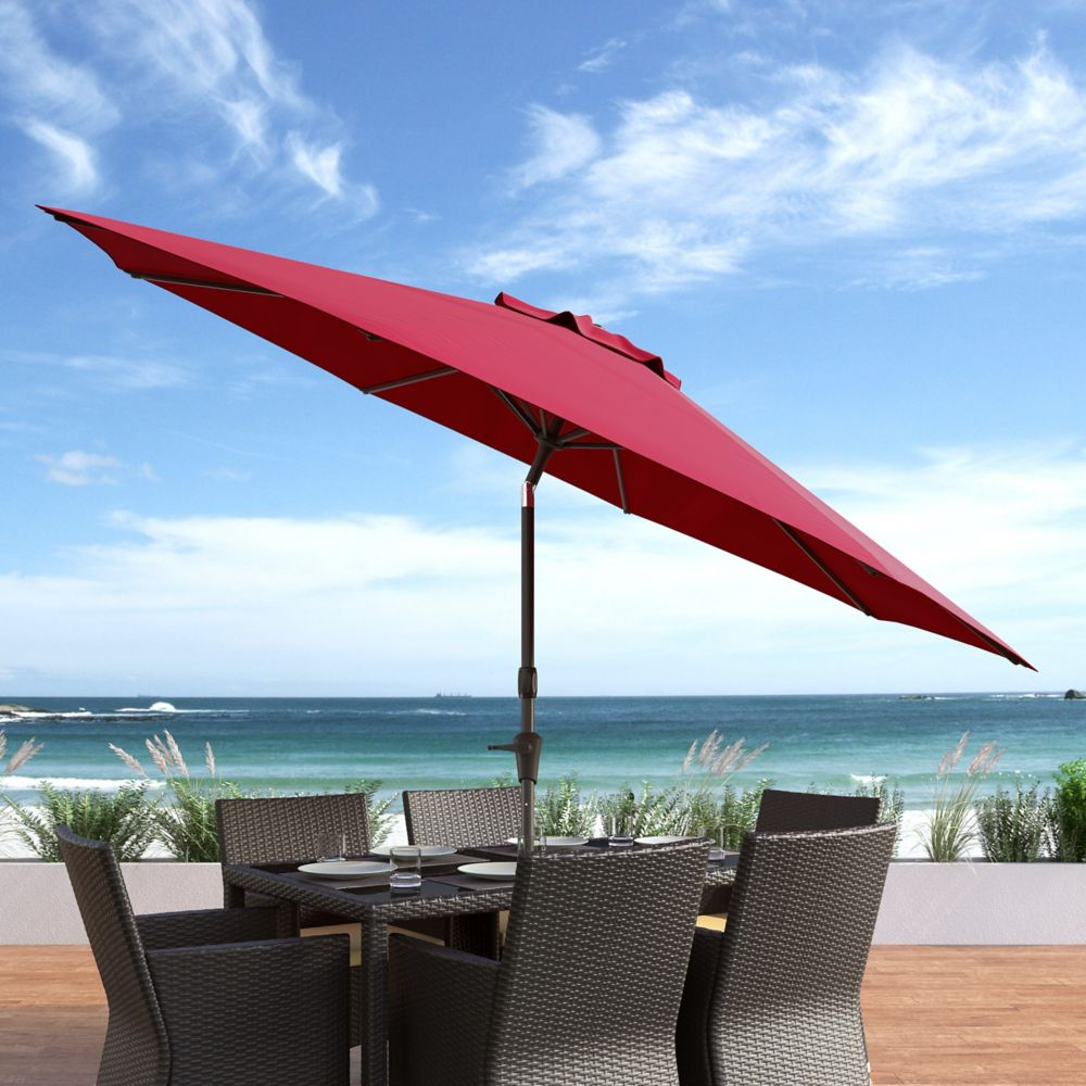 Corliving Red Wind Resistant Tilting Patio Umbrella