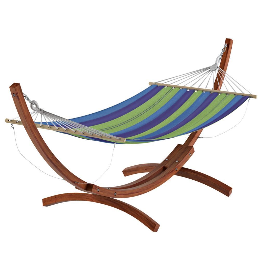 Wood Canyon Free Standing Patio Hammock In Blue And Green Striped Canvas