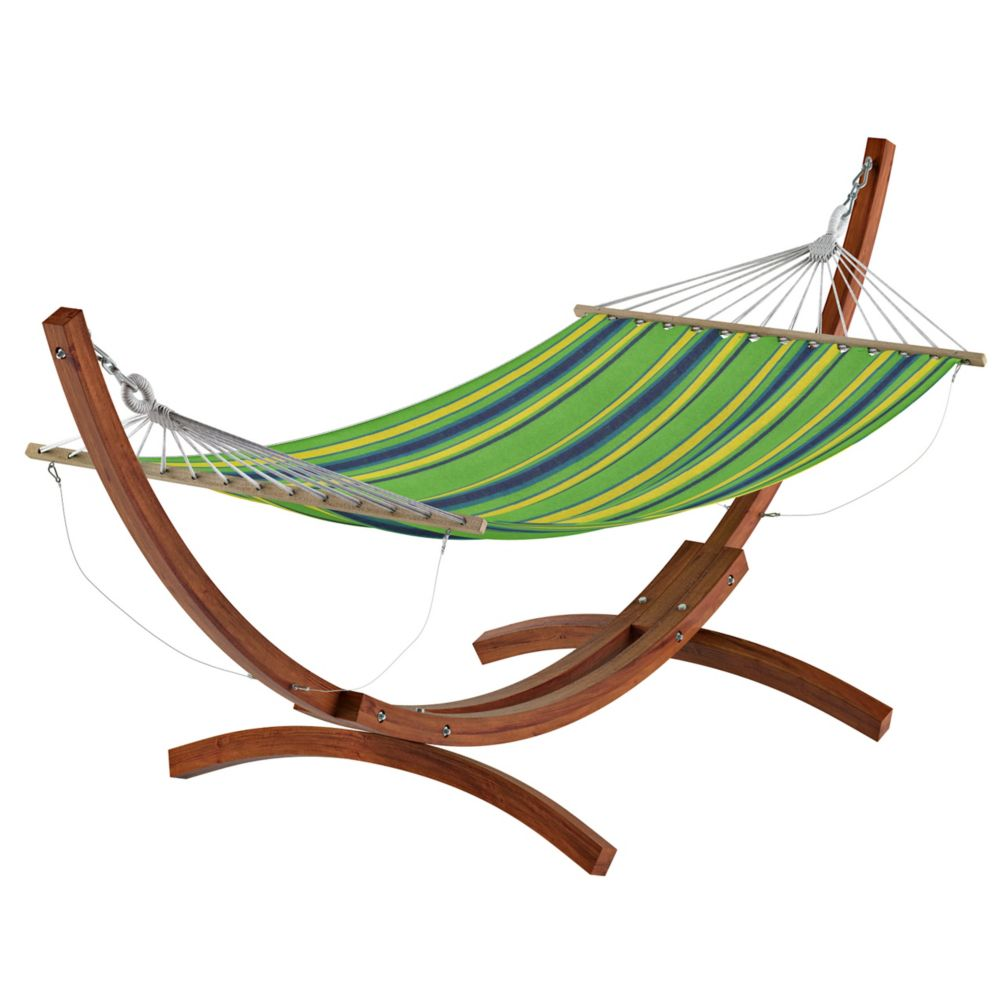 Corliving Wood Canyon Free-Standing Patio Hammock in Blue, Green and Yellow Striped Canvas