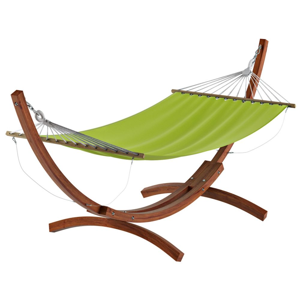 Corliving Wood Canyon Free-Standing Patio Hammock in Lime Green Canvas