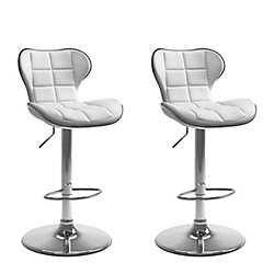 CorLving Adjustable Barstool in White Bonded Leather (Set of 2)