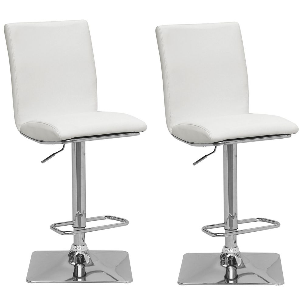 CorLving Adjustable Barstool in Dark Grey Bonded Leather, (Set of 2)