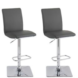 CorLving Adjustable Barstool in Dark Grey Bonded Leather (Set of 2)