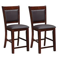 CorLving Chocolate Brown Bonded Leather Counter Height Dining Chairs, (Set of 2)