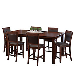 CorLving 7-Piece Counter Height Warm Brown Extendable Dining Set