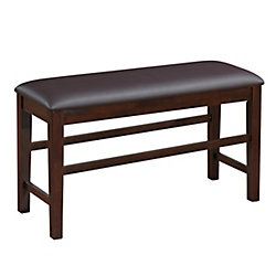 CorLving Chocolate Brown Bonded Leather Counter Height Dining Bench