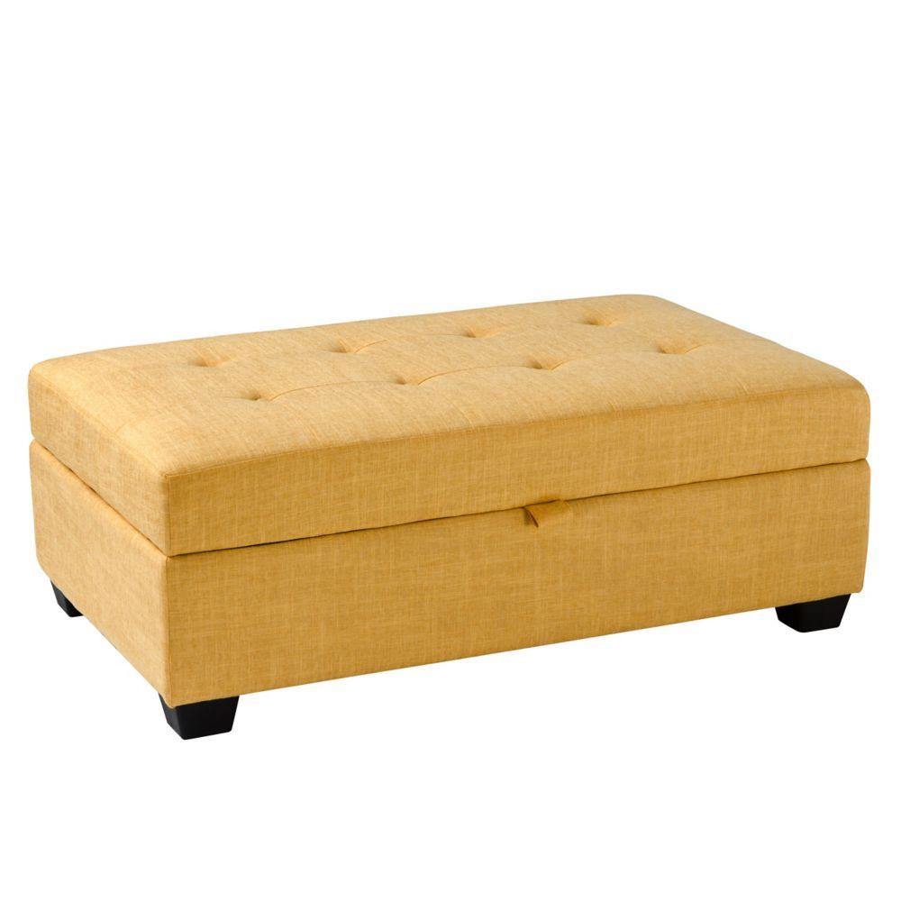 Incredible Antonio Storage Ottoman In Yellow Fabric Uwap Interior Chair Design Uwaporg