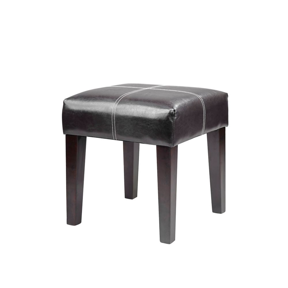 Corliving Antonio 16 inch Square Bench in Black Bonded Leather