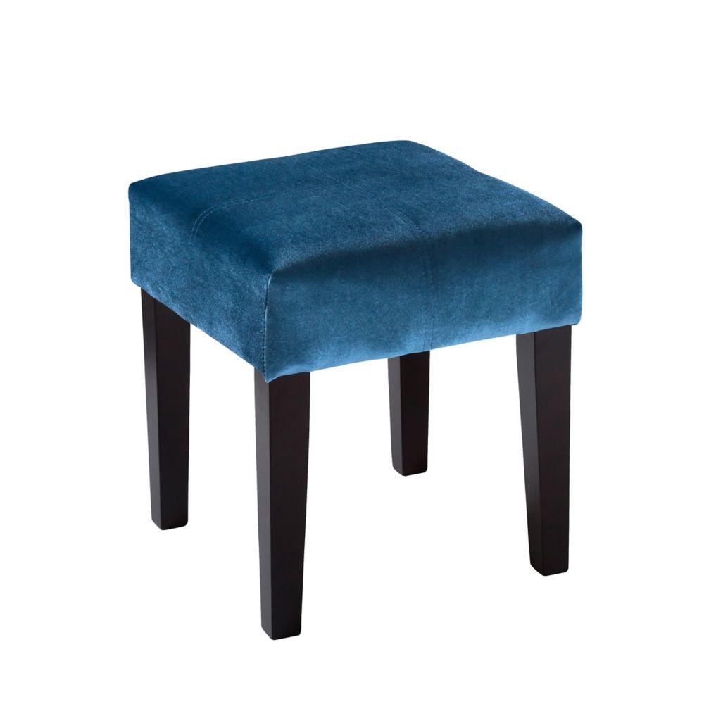 Corliving Antonio 16 inch Square Bench in Blue Velvet