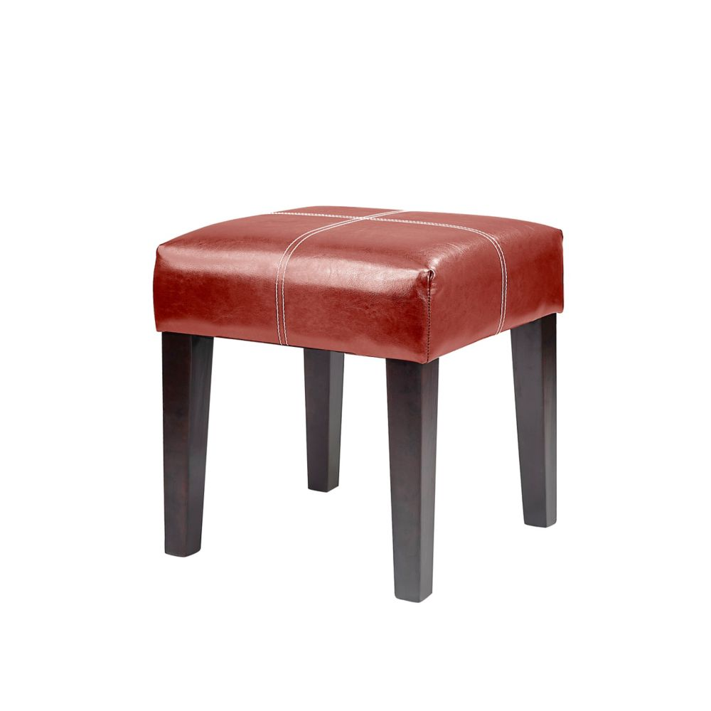 Corliving Antonio 16 inch Square Bench in Red Bonded Leather