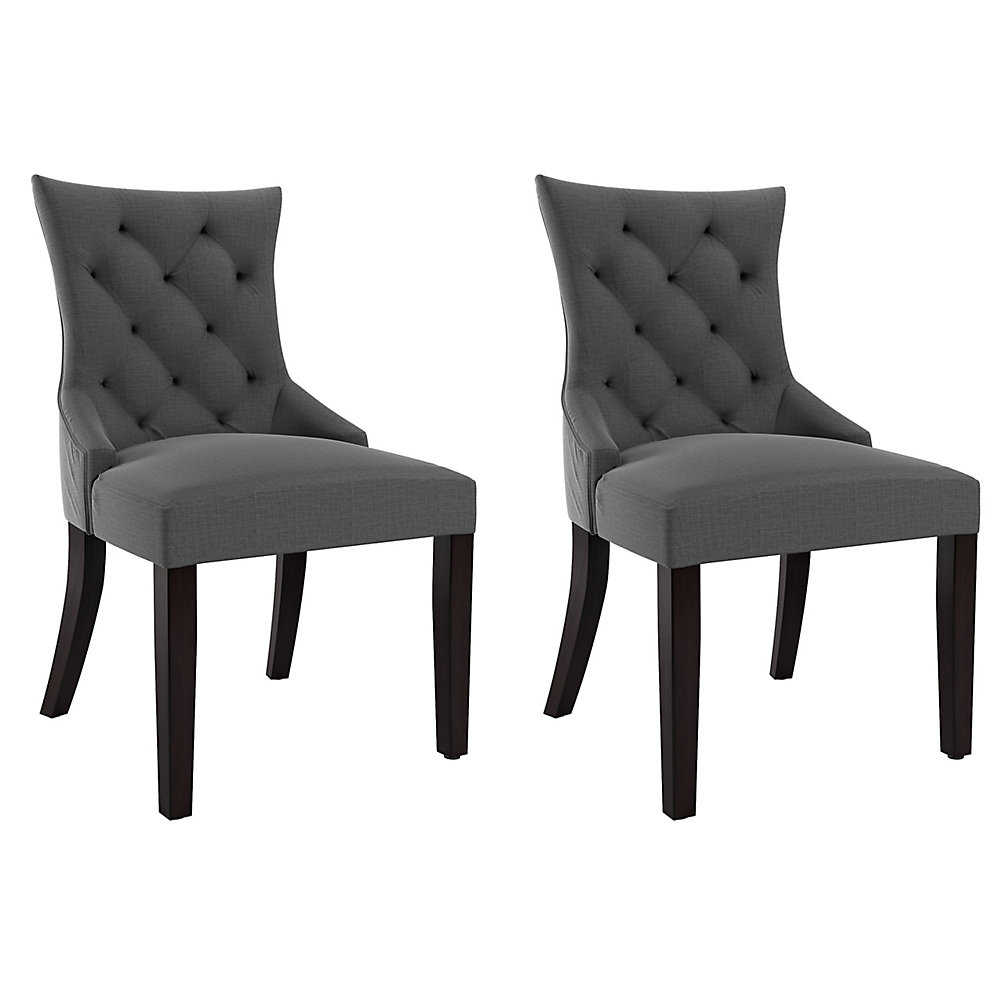 Accent Chairs Sold In Pairs.Antonio Accent Chair In Dark Grey Fabric Set Of 2