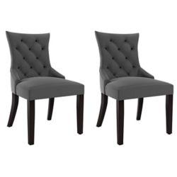 Corliving Antonio Accent Chair in Dark Grey Fabric, (Set of 2)