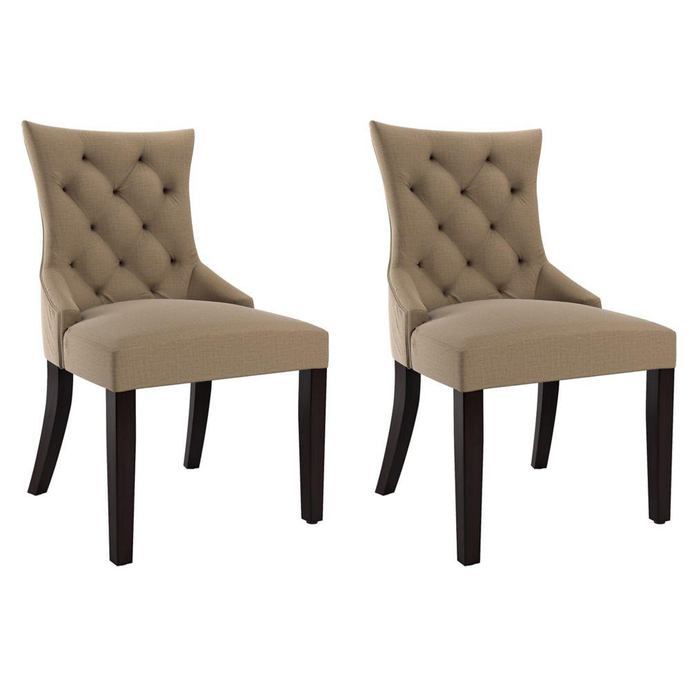 Corliving Antonio Accent Chair in Beige Fabric, set of 2