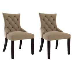 Corliving Antonio Accent Chair in Beige Fabric, (Set of 2)