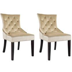 Corliving Antonio Accent Chair in Soft Beige Velvet, (Set of 2)