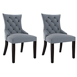 Corliving Antonio Accent Chair in Blue Grey Fabric, (Set of 2)