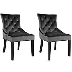 Corliving Antonio Accent Chair in Dark Grey Velvet, (Set of 2)