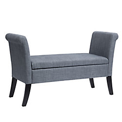 Corliving Antonio Storage Bench with Scrolled Arms in Blue Grey Fabric