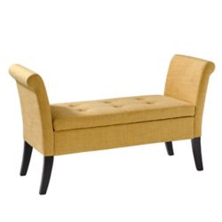 Corliving Antonio Storage Bench with Scrolled Arms in Yellow Fabric