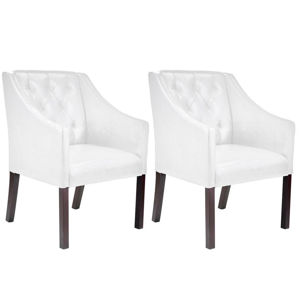 Corliving Antonio Accent Club Chair in White Bonded Leather, set of 2
