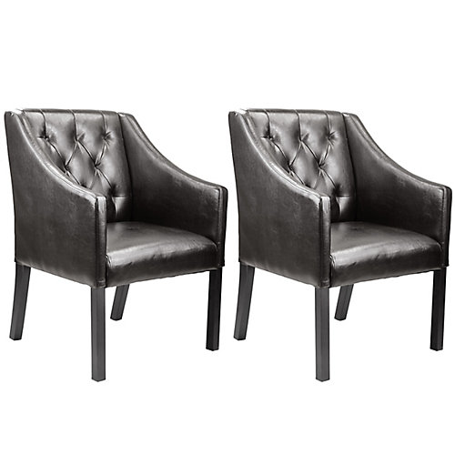 Antonio Accent Club Chair in Brown Bonded Leather (Set of 2)
