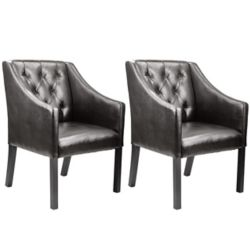 Corliving Antonio Accent Club Chair in Brown Bonded Leather (Set of 2)