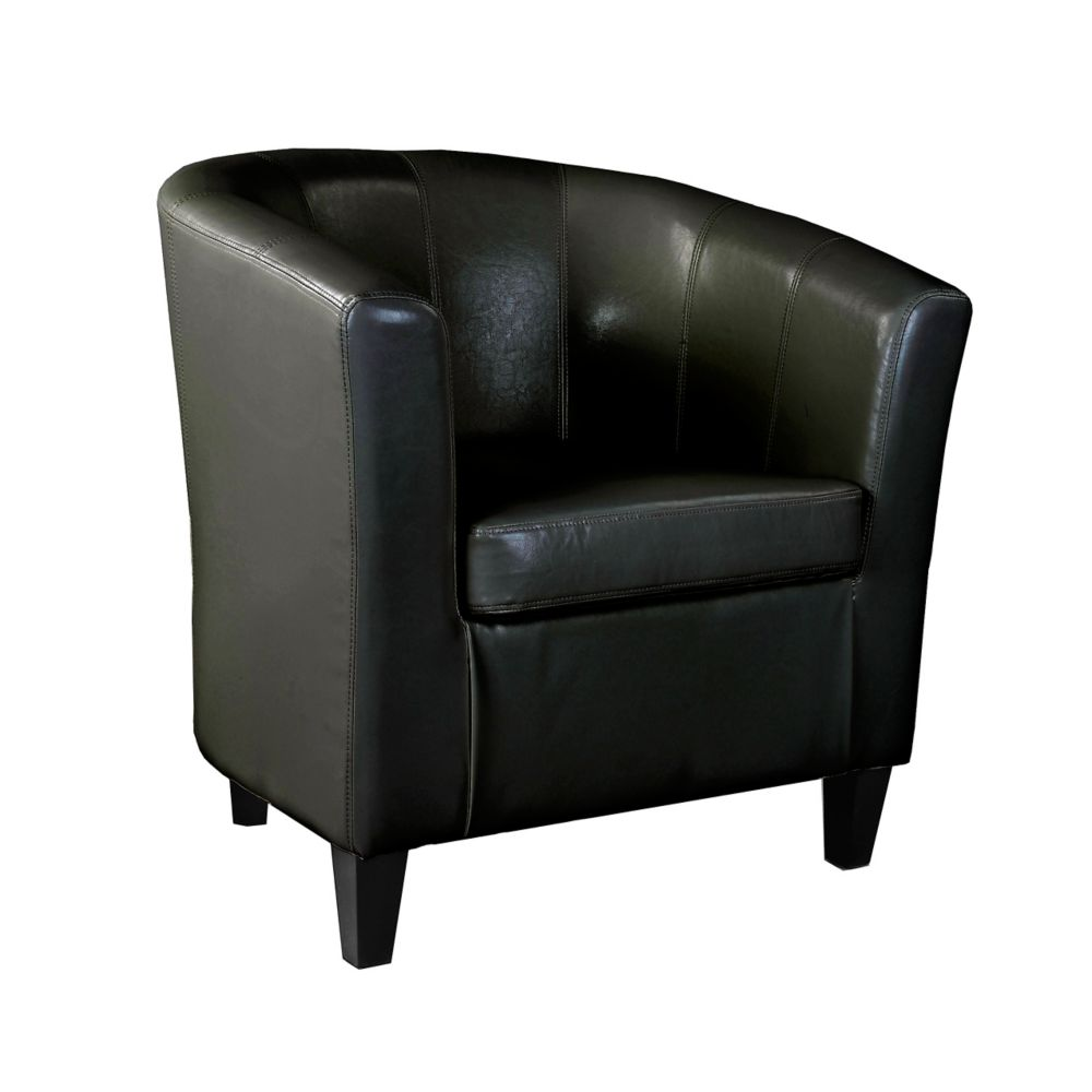 Corliving Antonio Tub Chair in Black Bonded Leather