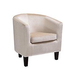 Corliving Antonio Tub Chair in Cream Velvet
