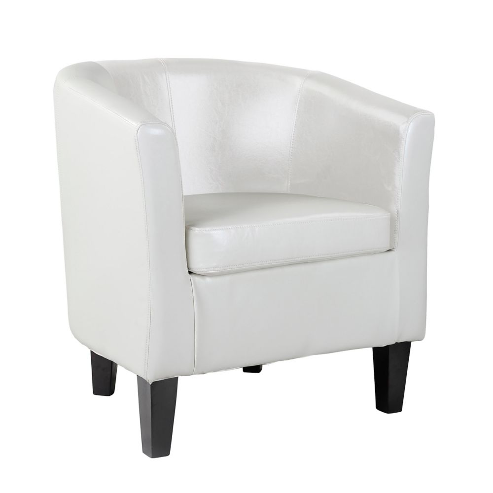 Corliving Antonio Tub Chair in White Bonded Leather