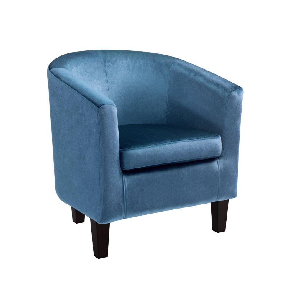 Corliving Antonio Tub Chair in Blue Velvet