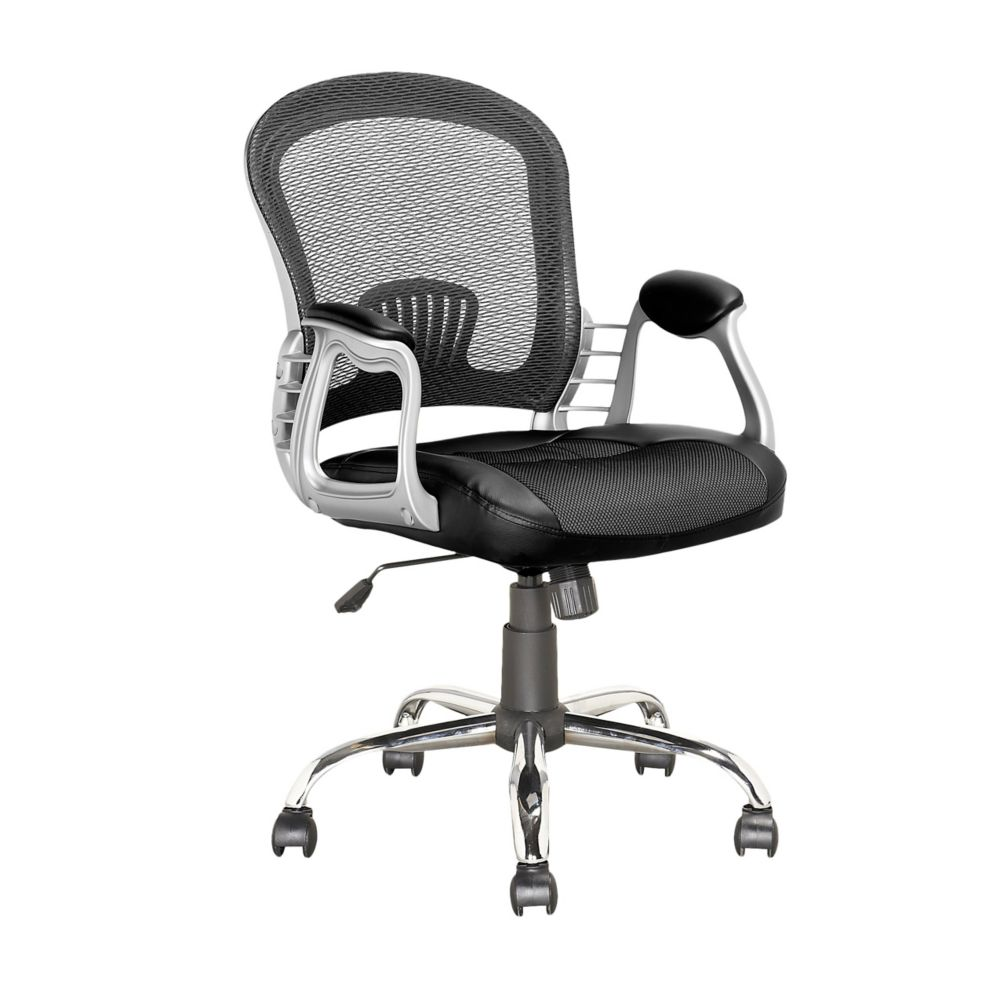 Corliving Workspace Office Chair in Black Leatherette and Mesh