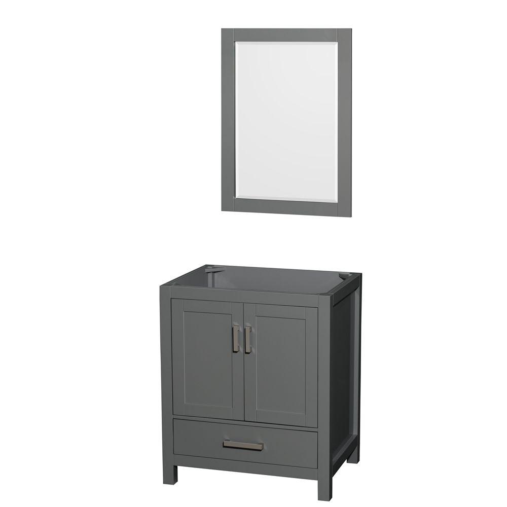 Wyndham Collection Sheffield 30 Inch Dark Gray Single Vanity, No Top, No Sink, 24 Inch Mirror