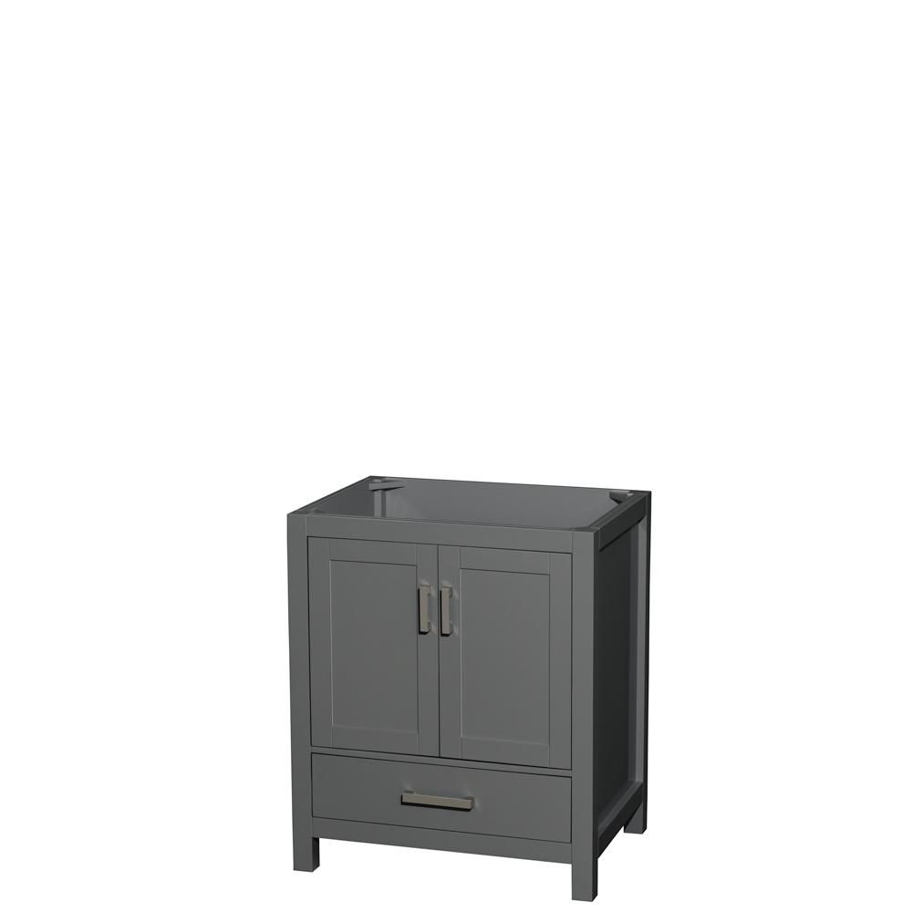 Wyndham Collection Sheffield 30 Inch Dark Gray Single Vanity, No Top, No Sink, No Mirror