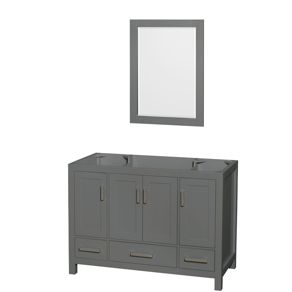 Wyndham Collection Sheffield 48 Inch Dark Gray Single Vanity, No Top, No Sink, 24 Inch Mirror