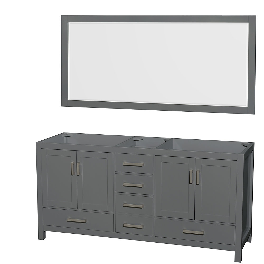 Pleasant Sheffield 72 Inch Dark Gray Double Vanity No Top No Sink 70 Inch Mirror Home Remodeling Inspirations Cosmcuboardxyz