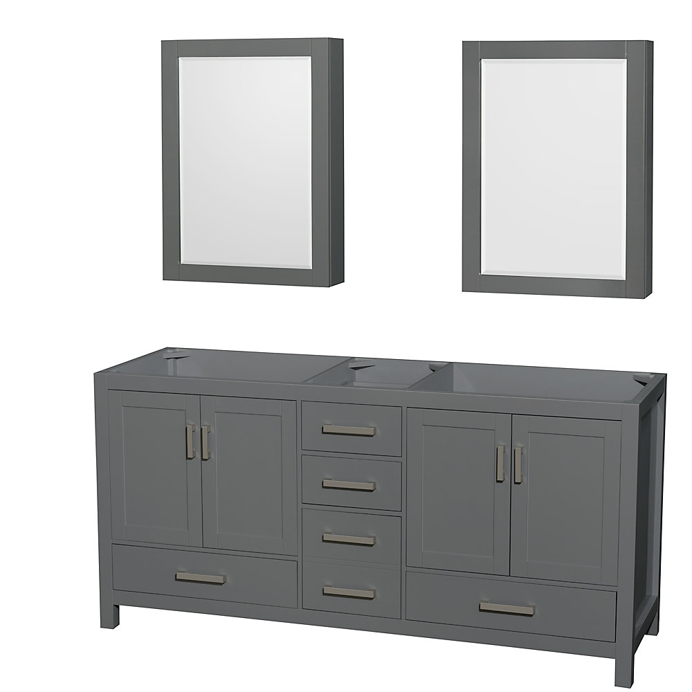 Groovy Sheffield 72 Inch Dark Gray Double Vanity No Top No Sink Medicine Cabinets Home Remodeling Inspirations Cosmcuboardxyz