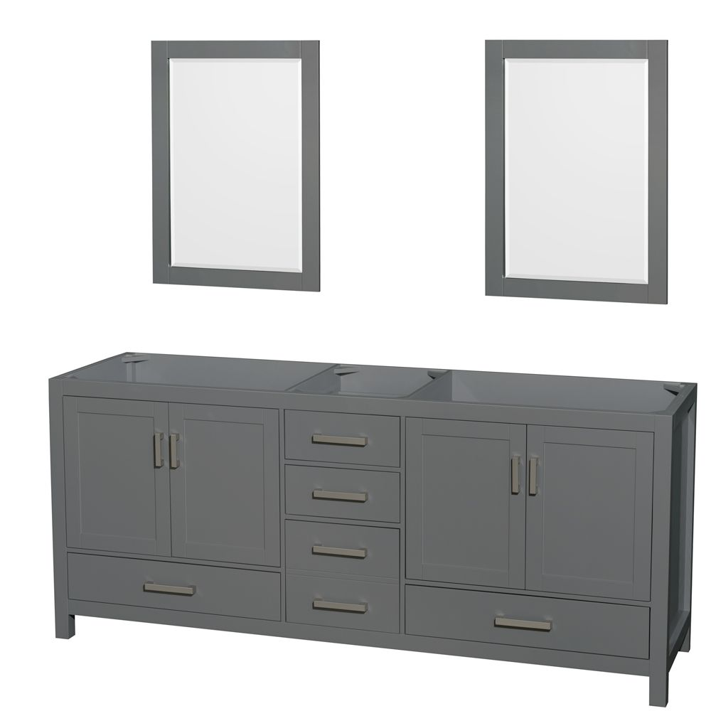 Wyndham Collection Sheffield 80 Inch Dark Gray Double Vanity, No Top, No Sink, 24 Inch Mirrors