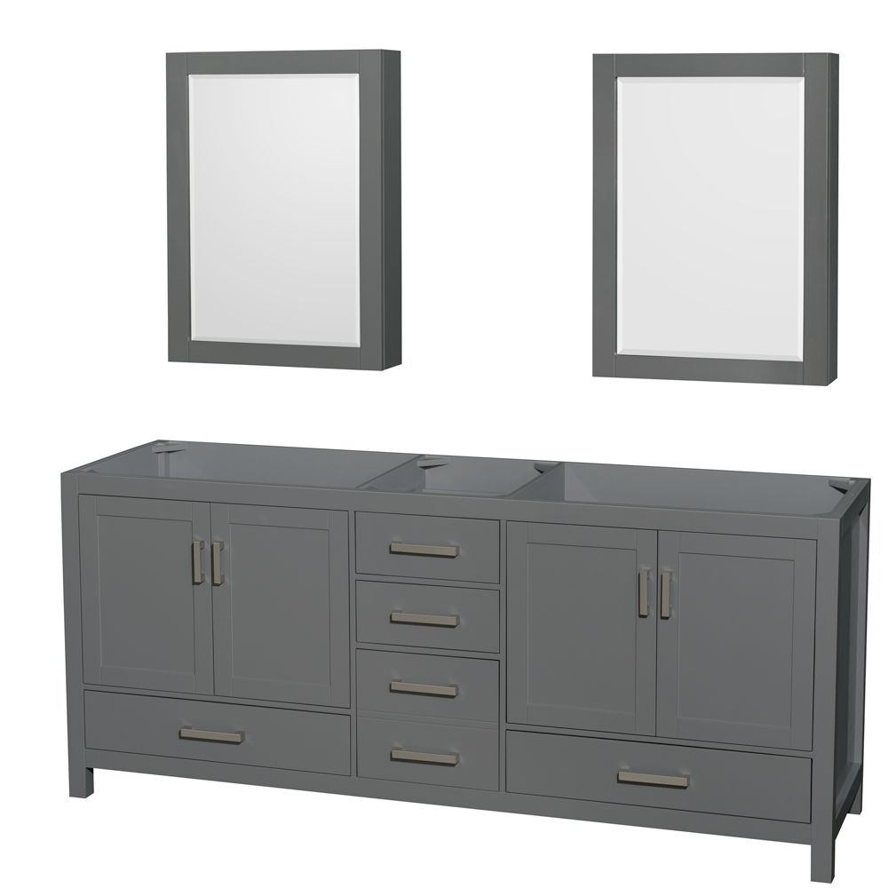 Wyndham Collection Sheffield 80 Inch Dark Gray Double Vanity, No Top, No Sink, Medicine Cabinets