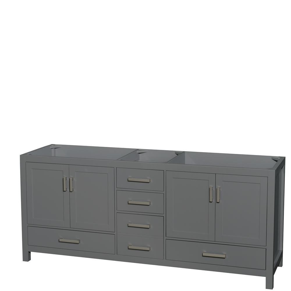 Wyndham Collection Sheffield 80 Inch Dark Gray Double Vanity, No Top, No Sink, No Mirror
