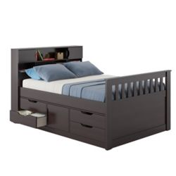Corliving Madison Full/Double Captain's Bed in Rich Espresso