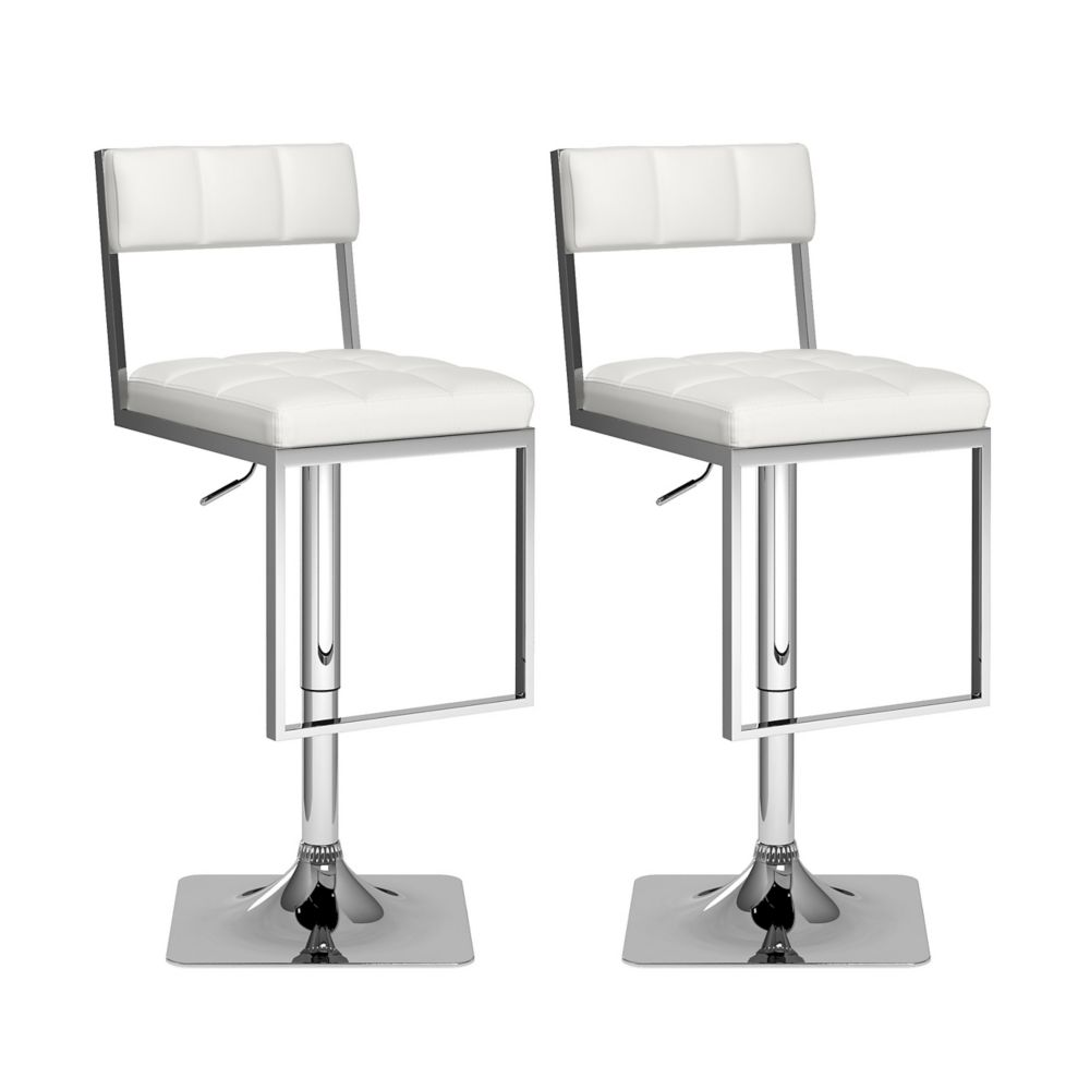 Corliving Adjustable Barstool in White Bonded Leather, (Set of 2)