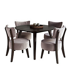 Atwood 5-Piece Dining Set, with Soft Grey Velvet Chairs