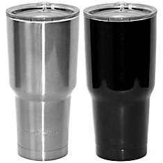 30oz Double Wall Stainless Steel Tumbler, Matte Black and Silver