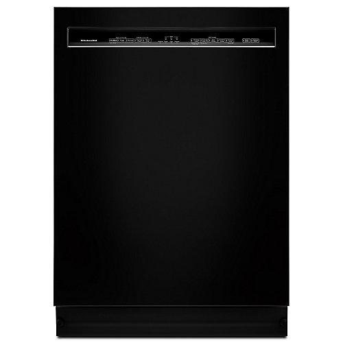 Lave-vaisselle à commande frontale noir avec cuve en acier inoxydable, 46 dBA