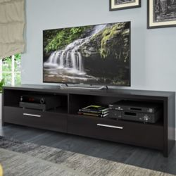 Corliving Fernbrook TV Stand in Black Faux Wood Grain Finish, for TVs up to 85Inch