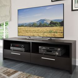 Corliving Meuble pour téléviseur Fernbrook avec faux-fini de bois noir, pour téléviseurs jusqu'à 85po